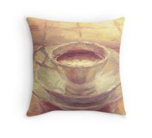 Coffee cup still life oil painting Throw Pillow