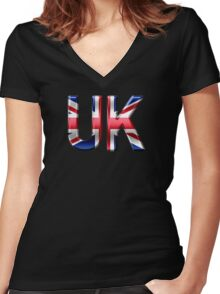 UK - British Flag - Metallic Text Women's Fitted V-Neck T-Shirt