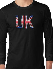 UK - British Flag - Metallic Text Long Sleeve T-Shirt