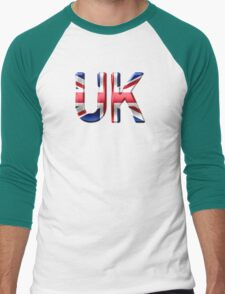 UK - British Flag - Metallic Text Men's Baseball ¾ T-Shirt