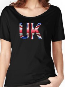 UK - British Flag - Metallic Text Women's Relaxed Fit T-Shirt