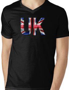 UK - British Flag - Metallic Text Mens V-Neck T-Shirt