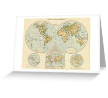 Vintage Map of The World (1895) Greeting Card