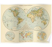 Vintage Map of The World (1895) Poster