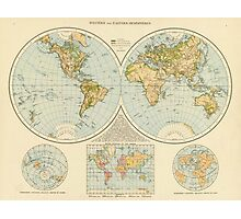 Vintage Map of The World (1895) Photographic Print