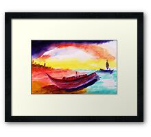 Lower tide than usual, watercolor Framed Print