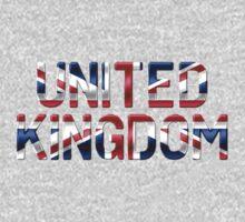 United Kingdom - British Flag - Metallic Text One Piece - Long Sleeve