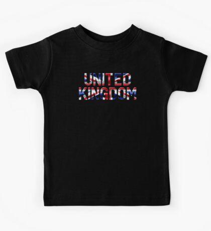 United Kingdom - British Flag - Metallic Text Kids Tee