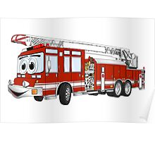 Hook and Ladder Cartoon Fire Truck Poster
