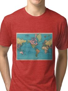 Vintage Map of The World (1897) Tri-blend T-Shirt
