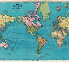 Vintage Map of The World (1897) by BravuraMedia