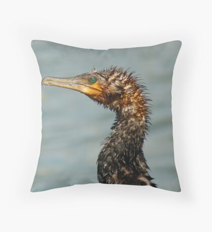 Old Great Cormorant Throw Pillow