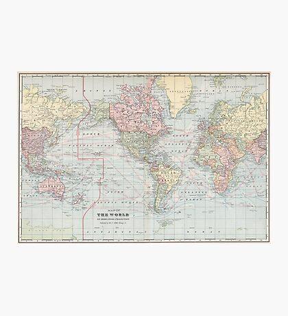 Vintage World Map (1901) Photographic Print
