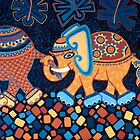 'Elephant Conga Line' - The Jungle is Jumping! by Lisa Frances Judd ~ QuirkyHappyArt