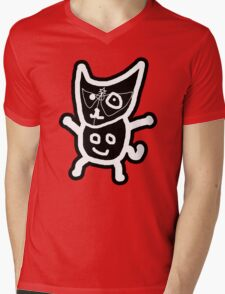 black ZEFCAT Mens V-Neck T-Shirt