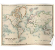 Vintage Map of The World (1911) Poster