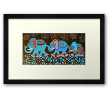 'Elephant Conga Line' - Digitally Altered Colour Scheme Framed Print