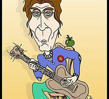 John Lennon Guitar Cartoon/ Cartoon Caricature by Grant Wilson