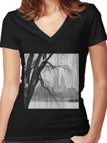 San Remo in Snow Women's Fitted V-Neck T-Shirt