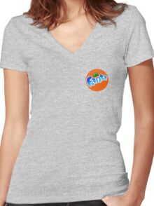 cool blue fanta logo Women's Fitted V-Neck T-Shirt