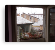 una finestra...un terrazzino sui tetti di parma -Italy-...a window,a  terrace on the rooF of Parma-italy-1200 visualizz 2013--RB EXPLORE 5 FEBBRAIO 2012 --- Canvas Print