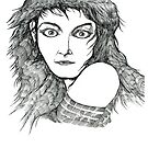 Kate Bush Pen Drawing Portrait by Grant Wilson