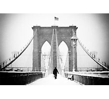 Man on Brooklyn Bridge Photographic Print