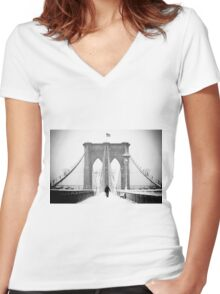 Man on Brooklyn Bridge Women's Fitted V-Neck T-Shirt