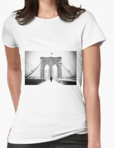 Man on Brooklyn Bridge Womens Fitted T-Shirt