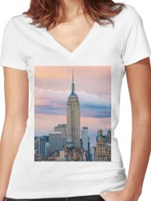 Empire State Cotton Candy Women's Fitted V-Neck T-Shirt
