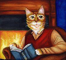 Orange Tabby Cat Reading Scholar Literary Book Lover by TaraFlyPhotos