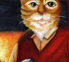 Orange Tabby Cat Reading Scholar Literary Book Lover Sticker