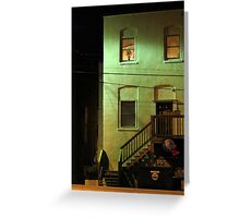 Night Alley And Building Greeting Card