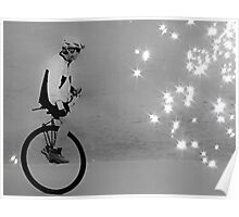 Unicycle Rider on the verge of fascination and discovery Poster