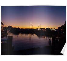 sun set on Victoria harbour  Poster