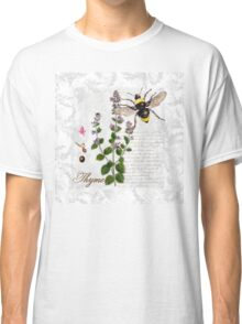 Shabby Chic Thyme herb Bumble Bee illustration art Classic T-Shirt