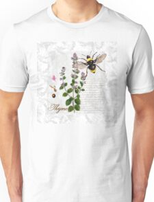 Shabby Chic Thyme herb Bumble Bee illustration art Unisex T-Shirt