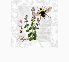Shabby Chic Thyme herb Bumble Bee illustration art Womens Fitted T-Shirt