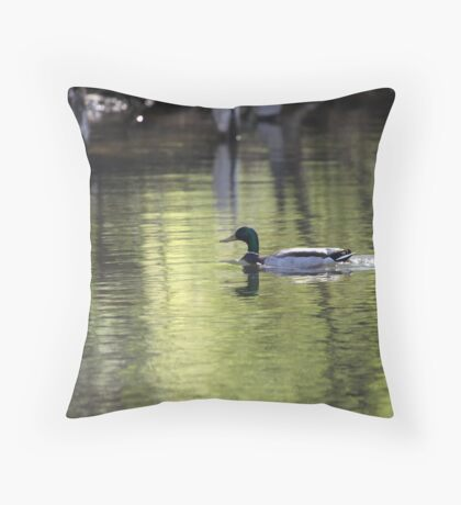Duck Water Scene Throw Pillow