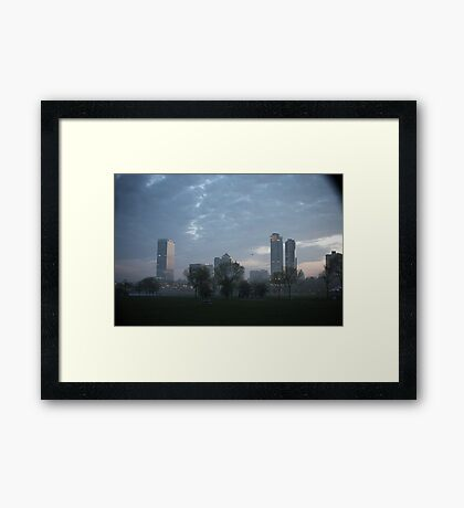 Milwaukee Cityscape with Clouds Framed Print