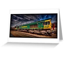 Freightliner 66508, passing through Monkhill Station. Greeting Card