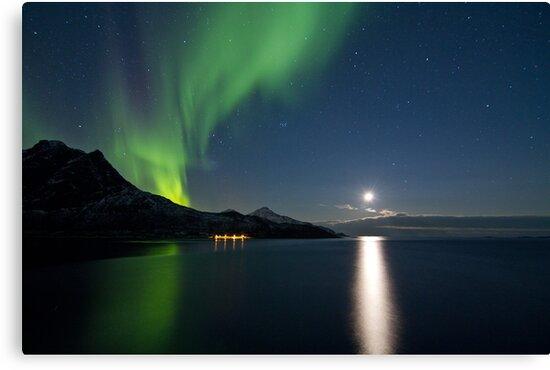 Aurora & descending moon by Frank Olsen