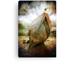 textured and beached fishing boat Canvas Print
