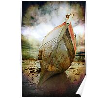 textured and beached fishing boat Poster