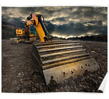 threatening and moody excavator Poster