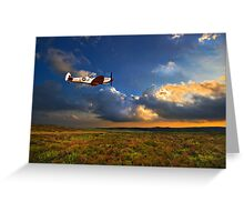 low flying evening spitfire Greeting Card