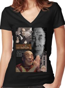 dalai lama Women's Fitted V-Neck T-Shirt