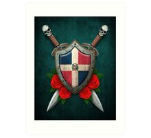 Dominican Flag on a Worn Shield and Crossed Swords Art Print