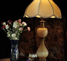 Blue Vase, Lamp and White Wine by FrankSchmidt