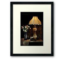 Blue Vase, Lamp and White Wine Framed Print